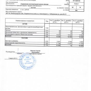 Бухгалтерский баланс на 31.12.2014г.