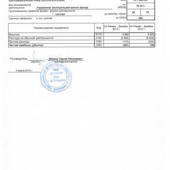 Отчет о финансовых результатах за январь-декабрь 2014 года
